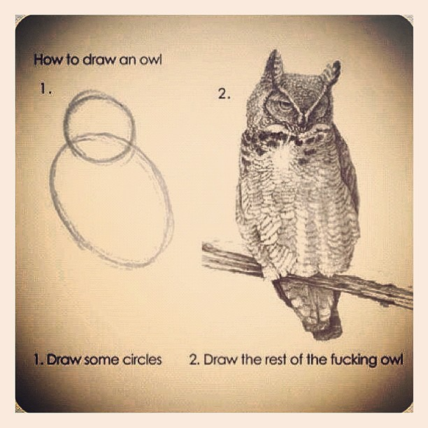 how to draw an owl - meme
